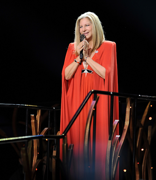 Barbra, in all her glory, performing Monday night in Amsterdam (Courtesy official Barbra Streisand Facebook page)