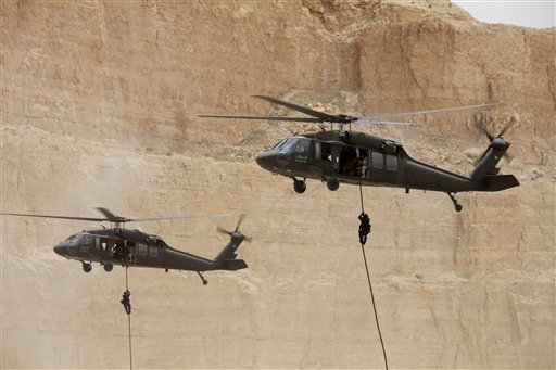 Counterterrorist military forces participate in exercises in Amman, Jordan, on May 27, 2012. (AP/Mohammad Hannon)