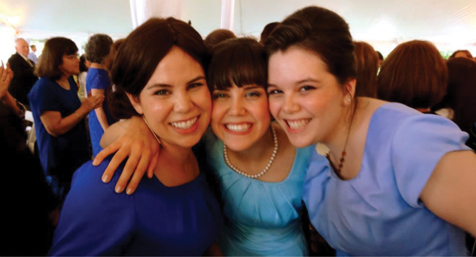 The author's sisters, and bridesmaids, Hannah Zuber, Aviva Gomberg and Zoe Gomberg.