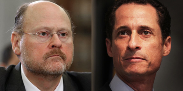 Republican Joe Lhota is hoping Anthony Weiner, right, will scare up some GOP cash. Skyscraper City, left. Getty Images, right.