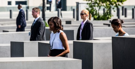 First Lady Michelle Obama and family visit Berlin memorial garden as President Obama met with German leaders. Marco Priske