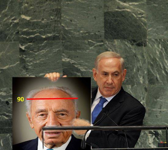 The photo mocks Peres while employing Prime Minister Benjamin Netanyahu's infamous 'red line' diagram (photo credit: Puncher Fiftyone/Facebook)