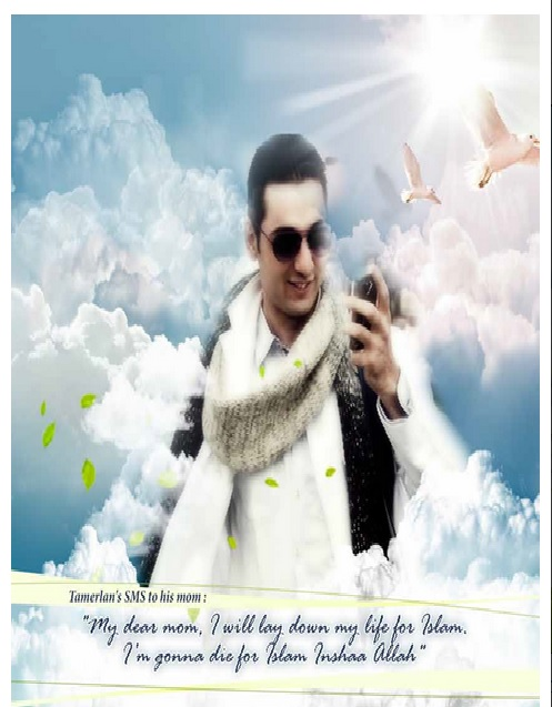 'Commemorative' photo of Boston bomber Tamerlan Tsarnaev in latest issue of al-Qaeda magazine 'Inspire.' (Screen capture from ADL website)