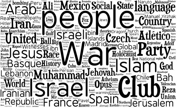 "The word cloud created by the researchers showing the thousand most controversial topics. (screen capture from ""The most controversial topics in Wikipedia:  A multilingual and geographical analysis,"" by Yasseri T., Spoerri A., Graham M., and Kertész J.)"