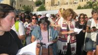 The scene Monday as Women of the Wall participants pray, but not at the Western Wall. Michele Chabin