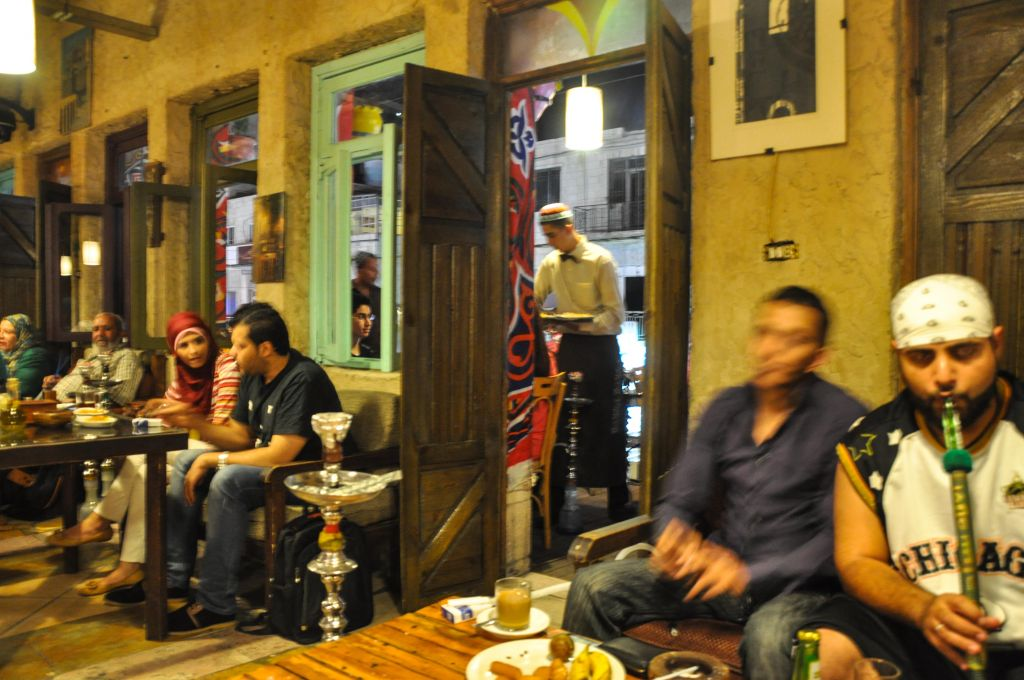 Cafes come to life at night during Ramadan (photo credit: Michal Shmulovich/Times of Israel)