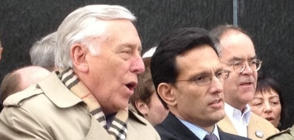 Steny Hoyer (D-Md. right) and Eric Cantor (R-Va.), Montgomery, Ala., March 2, 2013. Both Representatives have lead tours of Israel (photo credit: Religious Action Center of Reform Judaism/JTA)
