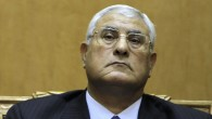 Egypt's chief justice Adly Mansour listens to a speech during his swearing in as interim president, Thursday, July 4, 2013 (photo credit: AP/Amr Nabil, File)
