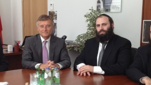 Rabbi Menachem Margolin, right, and Polish ambassador to the EU Marek Prawda on Tuesday in Brussels. (photo credit: courtesy European Jewish Association)