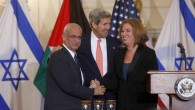 Saeb Erekat, left, John Kerry, center, and Tzipi Livni at a July press conference in Washington restarting peace talks (photo credit: AP/Charles Dharapak)