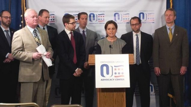 Tamar Eisenstat of SAR Academy speaks at OU press conference advocating Energy Parity Act, joined by officials. OU photo