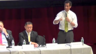 Anthony Weiner defends a City Council vote in the 90s at seniors debate. Adam Dickter