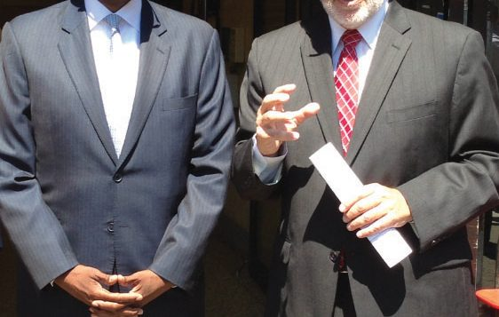 State Assemblyman Dov Hikind, right, campaigning with Kenneth Thompson. Photo courtesy Campaign of Kenneth Thompson