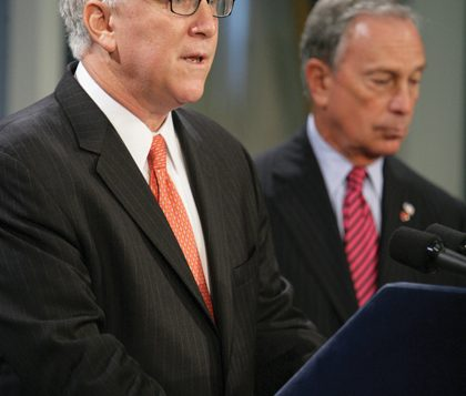 The city's finance commissioner, David Frankel, with Mayor Bloomberg, will take over Met Council. Photo via NYC.gov