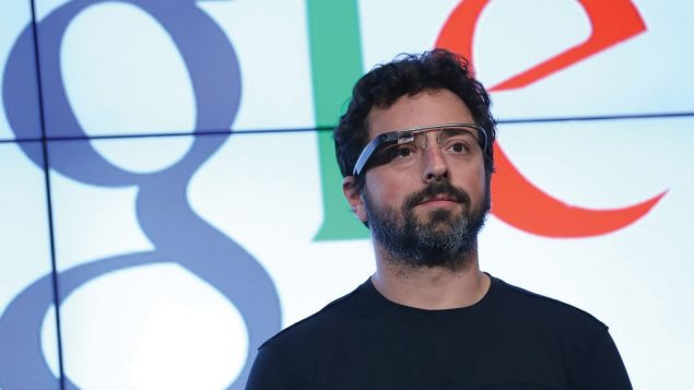 Google co-founder Sergey Brin, sporting the company's latest invention, is a giver to Jewish causes.  Getty Images