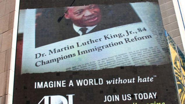 An octogenarian Martin Luther King Jr. is part of ADL's anti-hate message in Times Square. Michael Datikash