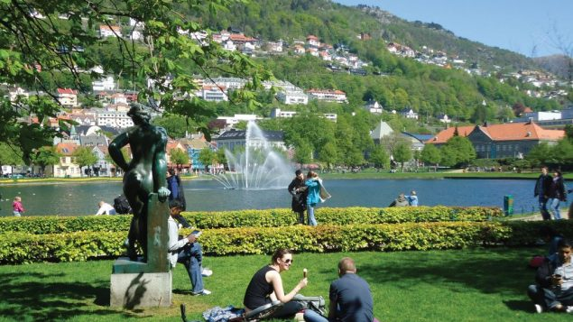 Students relax fjordside in Bergen, the Norwegian city where the North Sea meets the Atlantic Ocean. Hilary Larson