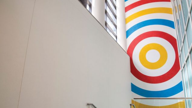 "So LeWitt's ""Wall Drawing #599,"" on view at the JCC in Manhattan. Photo courtesy JCC in Manhattan"