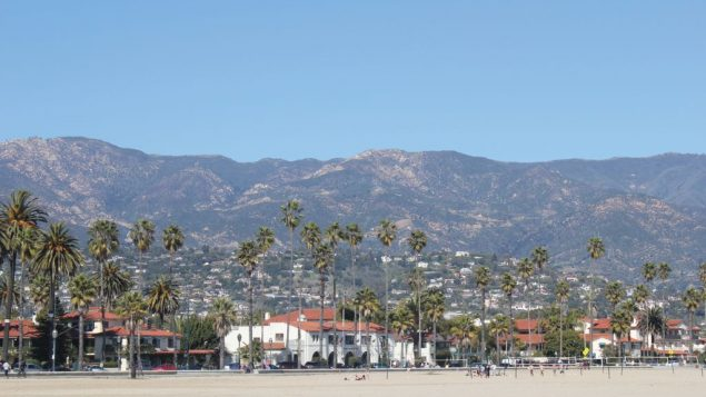 The hillsides ease their way down to the beach, in Santa Barbara. George Medovoy