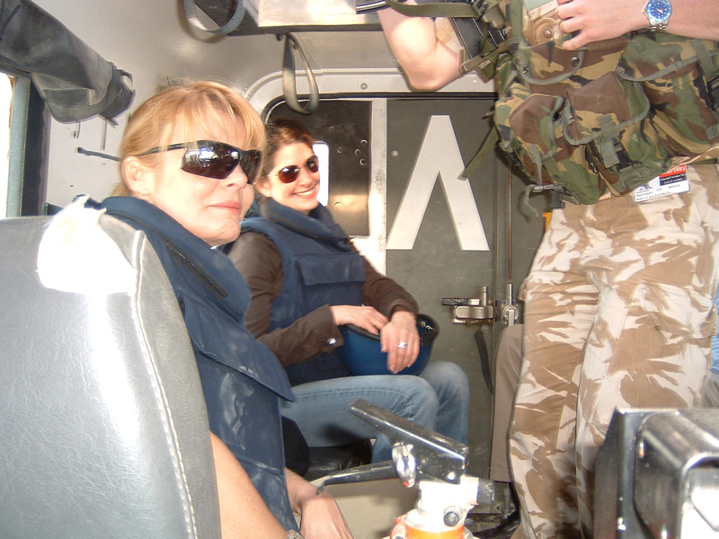 In the back of an armored vehicle, in Basra (photo credit: Heidi Kingstone)