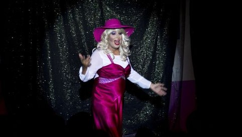 Israeli Orthodox Jew Shahar Hadar, performs his drag queen show at a guy club in Jerusalem, Monday, July 29, 2013,. (AP Photo/Oded Balilty)