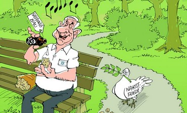 "An anti-Israel caricature published in the German newspaper Stuttgarter Zeitung showing Prime Mnister Benjamin Netanyahu holding a piece of bread for peace doves that he is poisoning with liquid from a bottle labeled ""settlement construction"" (photo credit: screen cap from the Stuttgarter Zeitung)"