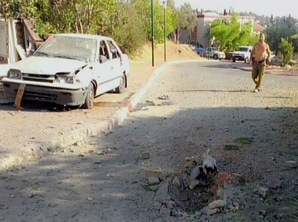 Damage from a rocket that fell near Nahariya, Thursday, August 22, 2013 (photo credit: Channel 2)