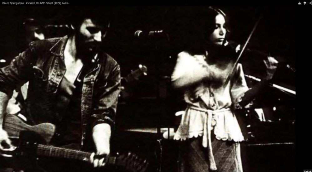 Bruce Springsteen and Suki Lahav, on stage together in Philadelphia in 1974 (photo credit: YouTube screenshot)