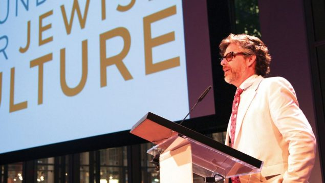 Novelist Michael Chabon speaking last year at the Foundation for Jewish Culture's gala. JTA
