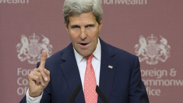 Secretary of State John Kerry speaking Monday in London raised the idea of Syria giving up its chemical weapons. Getty Images