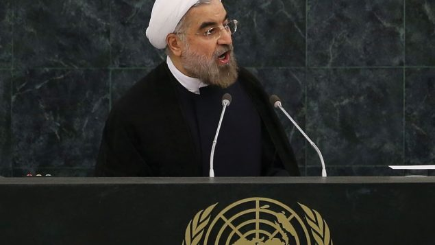 Iranian President Hassan Rouhani speaking Tuesday at the UN. Getty Images
