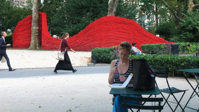 Three massive rope sculptures by artist Orly Genger dominated Madison Square Park this summer. Michael Datikash