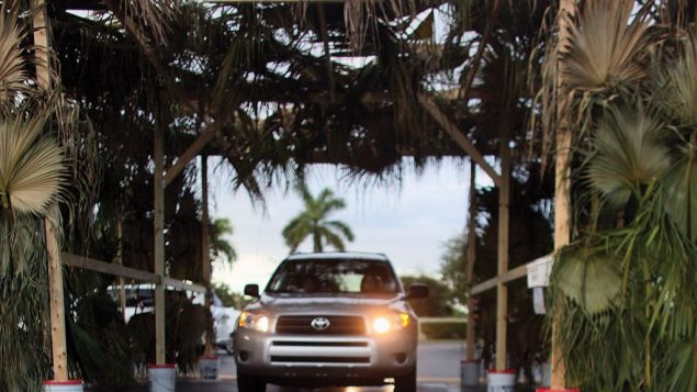 A congregation in car-dependent Miami offers a drive-through sukkah. Getty Images