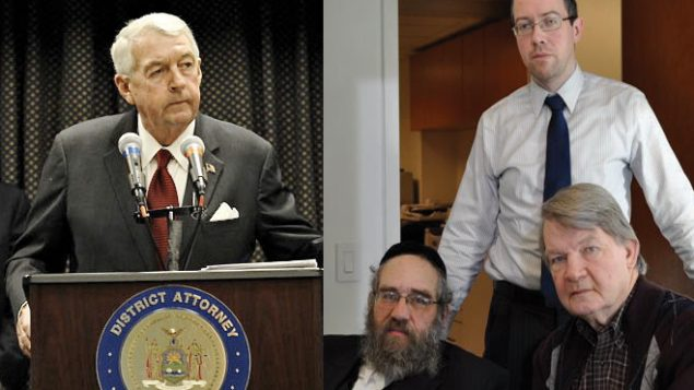 Brooklyn DA Charles Hynes, left. Right, Sam Kellner, seated, and his legal team, Michael Dowd and Niall MacGiollabhui, standing.