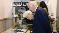 A couple at last week's opening looks at a display case of artifacts. Photo courtesy NYC Department of Records