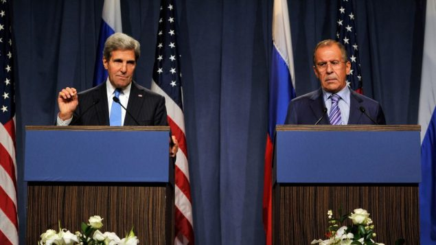 Secretary of State John Kerry and Russian Foreign Minister Sergey Lavrov speak during a Sept. 12 press conference. Getty Images