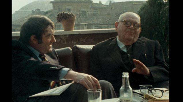 "Lanzmann, left, and Murmelstein in scene from ""The Last of the Unjust."""