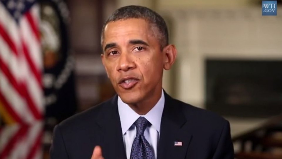 President Obama makes his case during his weekly address Saturday for pursuing a diplomatic solution following Syria's use of chemical weapons, September 2013. (screen capture: YouTube)
