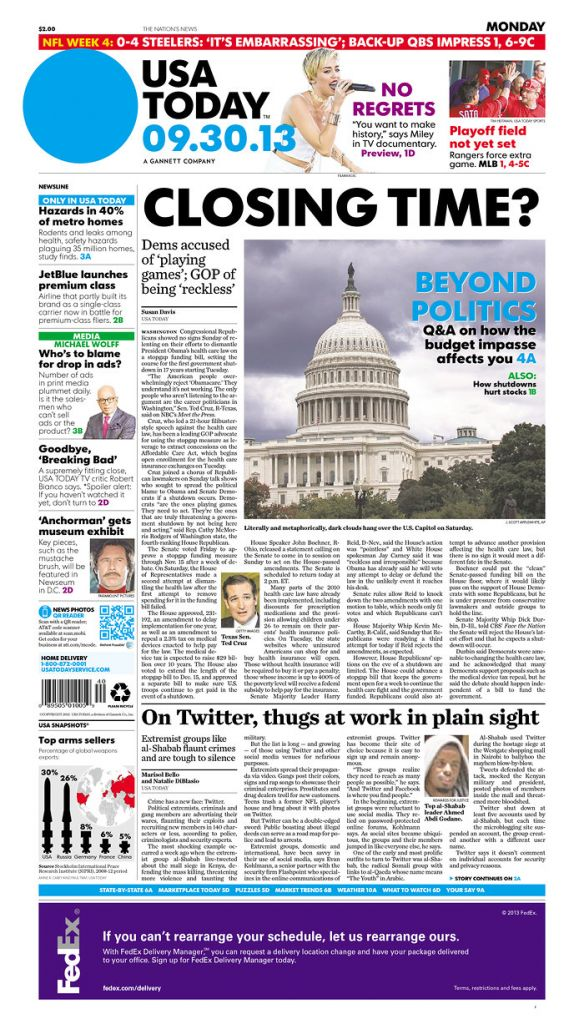 USA Today's front page cover (Courtesy: Newseum)