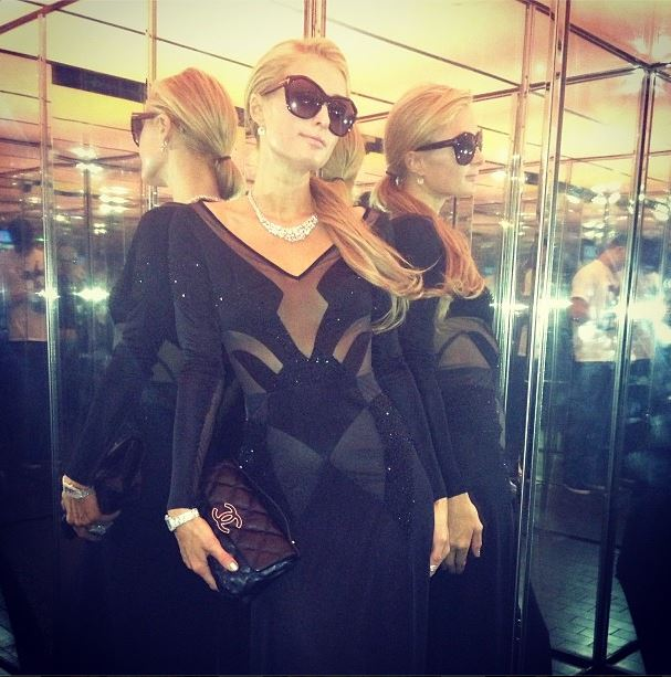 The famed Paris Hilton Instagram shot, with Hilton wearing an Alon Livne original (Courtesy Paris Hilton Instagram)