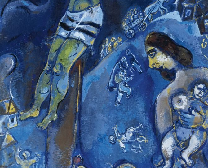 """Marc Chagall's """"Persecution."""" Collection Herta and Paul Amir, Beverly Hills, Calif. © 2013 Artists Rights Society (ARS)"""
