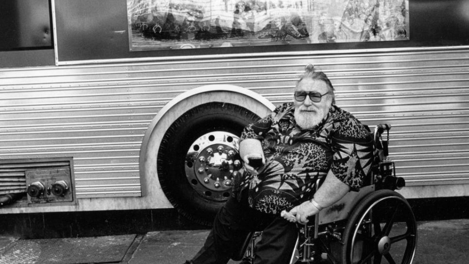 Doc Pomus in front of his tour bus, top.
