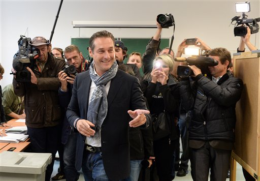 Top candidate of the Freedom Party, FPOE, Heinz-Christian Strache, casts his vote in national elections at a polling station in Vienna, Austria, Sunday, Sept. 29, 2013.