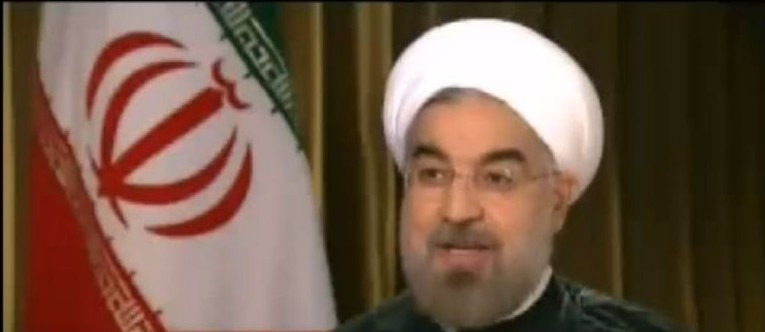 Hasan Rouhani, the Iranian president, interviewed on CNN, September 24, 2013 (photo credit: YouTube screenshot)