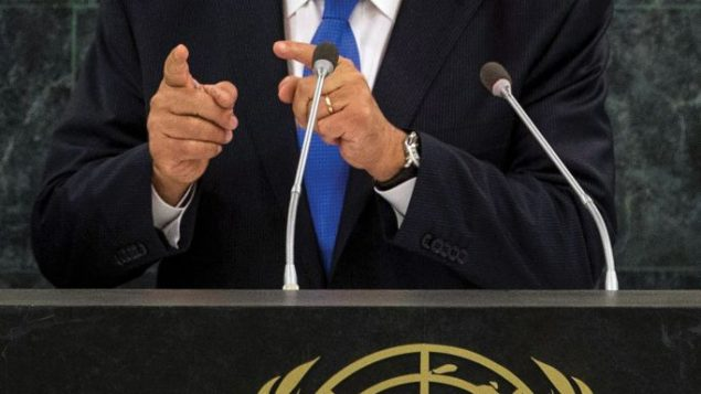 Netanyahu speaking Tuesday at the UN: No softening of his position. Getty Images