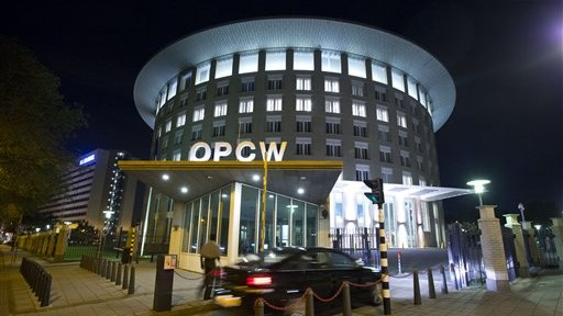 File: The headquarters of the Organization for the Prohibition of Chemical Weapons (OPCW) in The Hague, Netherlands (photo credit: AP/Peter Dejong)