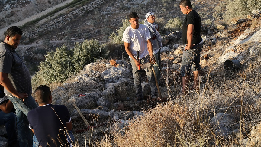 Locals Palestinians at a new park area taking shape near the West Bank village of Bil'in. (photo credit: Haitham Khatib)