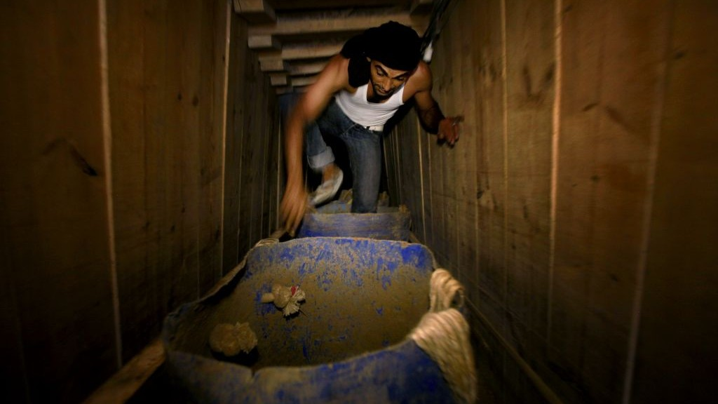 A smuggling tunnel between Gaza and Egypt (photo credit: Hatem Moussa/AP)