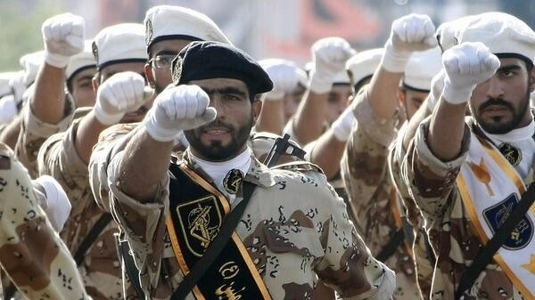 Illustrative photo of Iranian Revolutionary Guards (@MidEastNews_Eng via Twitter/File)