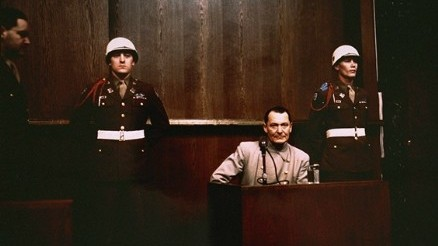 Hermann Goering on the witness stand at the Nuremberg trials (photo credit: US Government/public domain)